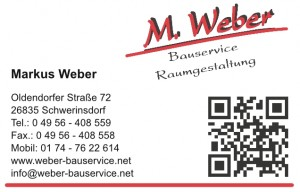 Weber Bauservice Visitenkarte Seite 1